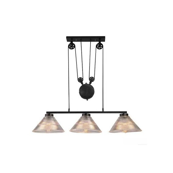 Industrial Pulley triple pendant lamp with Edison bulbs Pottery Barn black color front view