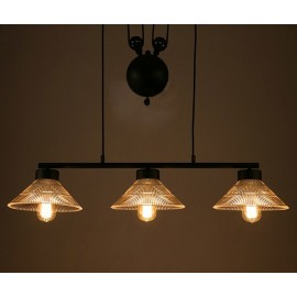Industrial Pulley triple pendant lamp with Edison bulbs Pottery Barn black color side view