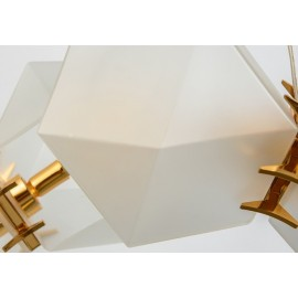 Welles Glass Long LED Chandelier Next white/gold color top view