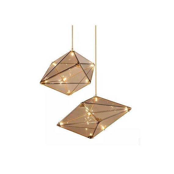 Maxhedron pendant lamp Roll & Hill cognac color S / M front view