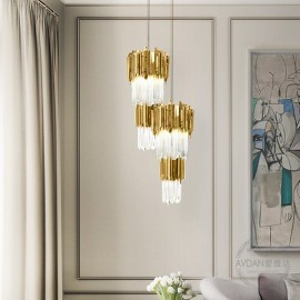Empire pendant lamp Luxxu brass/nickel color side view