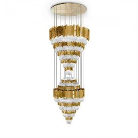 Empire XL chandelier Luxxu brass/nickel color front view