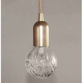 Crystal bulb LED pendant lamp Lee Broom Iron 1 light front view