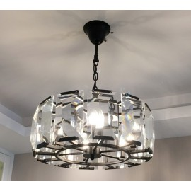 RH Harlow Crystal Round Chandelier D48cm Restoration Hardware black/clear color side view
