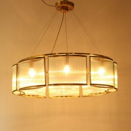 Stilio Ring pendant lamp in brass Licht im Raum 6 bulbs side view