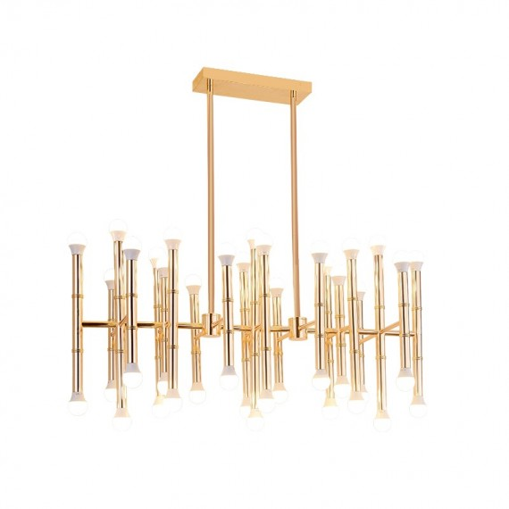 Meurice Rectangle Chandelier gold color front view