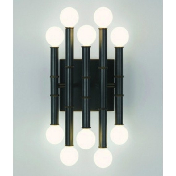 Meurice wall lamp black color front view