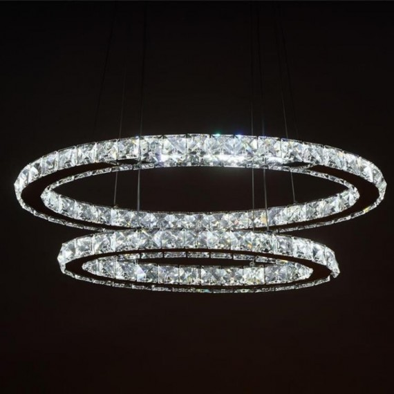 Circle crystal LED Pendant lamp 2 ring Swarovski chrome color front view