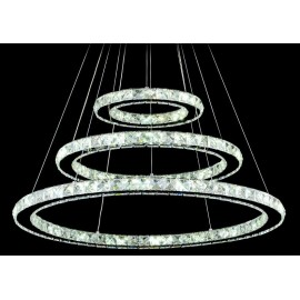 Circle crystal LED Pendant lamp 3 ring Swarovski chrome color back view