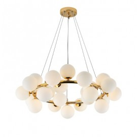 Mimosa round pendant lamp Atelier Areti brass color front view