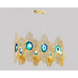 VIVRE LED Rectangular Chandelier Koket gold color front view