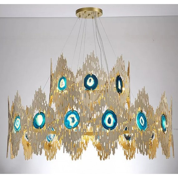 VIVRE LED 2 ring Chandelier Koket gold color front view