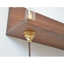 Frame 90 wall lamp with Shelf in walnut Frama walnut color with detail