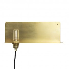 Frame 90 wall lamp with Shelf in brass Frama gold color front view