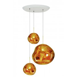 Melt Cluster ceiling lamp Flusmount Tom Dixon gold color 3 lights side view