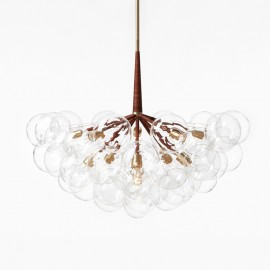 Jumbo 29 BUBBLE CHANDELIER PELLE brown color front view