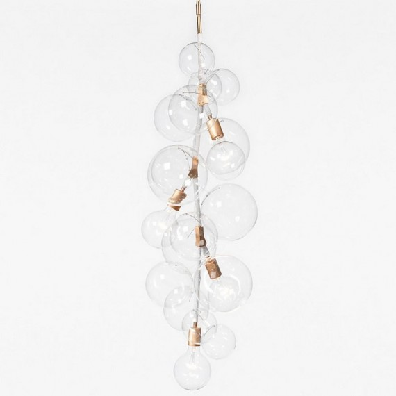 TALL BUBBLE CHANDELIER PELLE white color front view