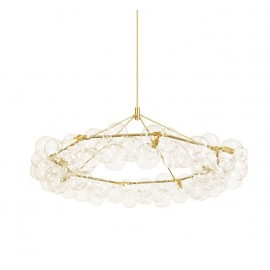 Wreath BUBBLE CHANDELIER LED PELLE brass color front view