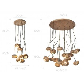 Wooden Flower Petal LED Cluster Chandelier Dezignlover natural wood color 7 lights / 19 lights with detail