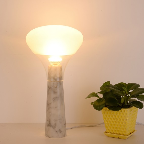 Bella Carrara Marble LED table lamp ILIDE white color A side view
