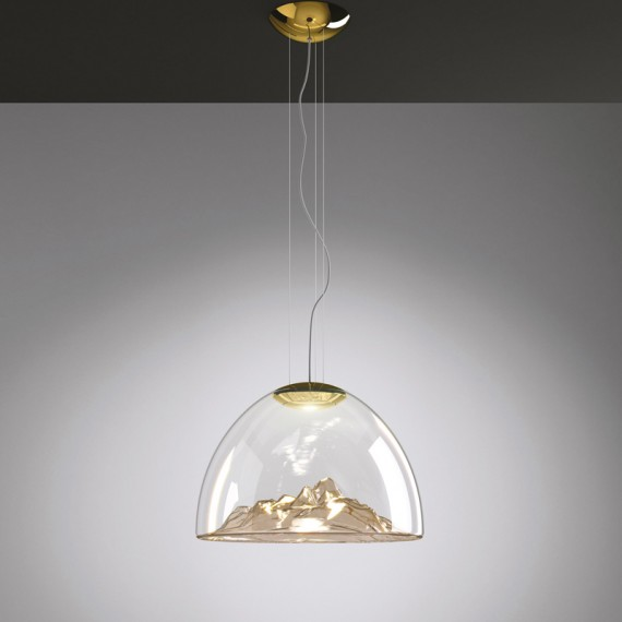 MOUNTAIN VIEW LED pendant lamp Axo gold color front view