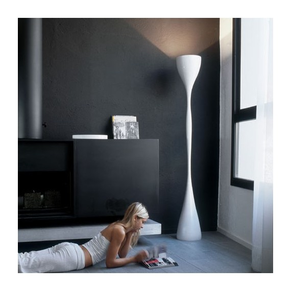 Jazz floor lamp Vibia white color side view