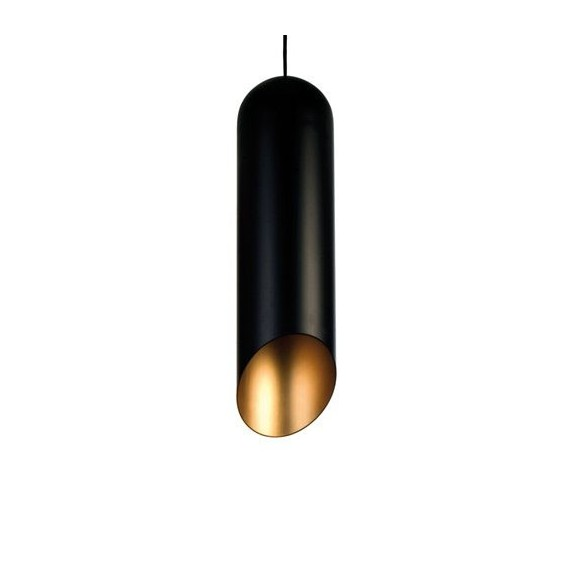 Pipe pendant lamp Tom Dixon black outside and gold inside color front view