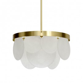 Sasha Chandelier CTO lighting satin brass color front view