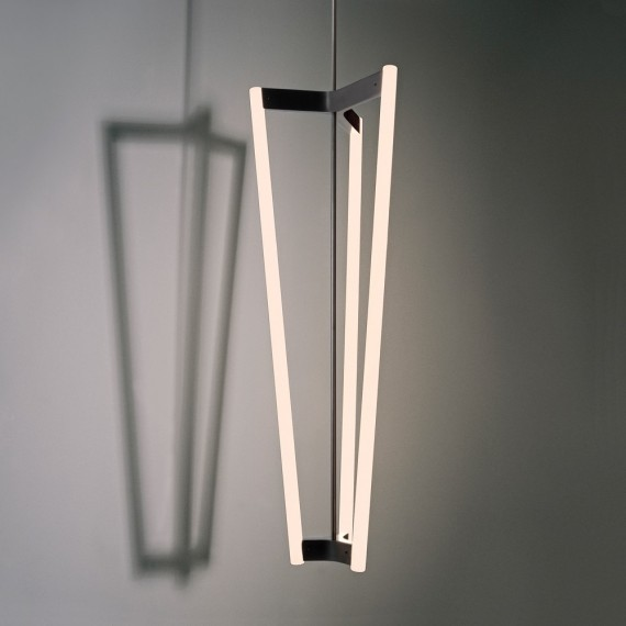 Tube Chandelier Michael Anastassiades brass color side view
