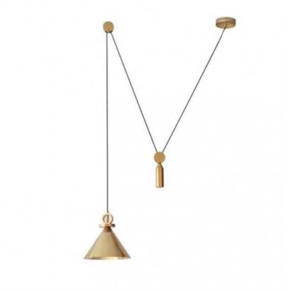 Shape Up Pendant lamp Cone Roll & Hill brass color front view