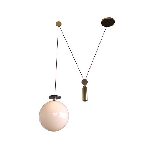 Shape Up Pendant lamp Globe Roll & Hill white color front view