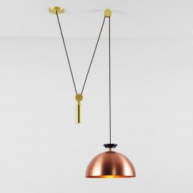 Shape Up Pendant lamp Globe Roll & Hill copper color front view