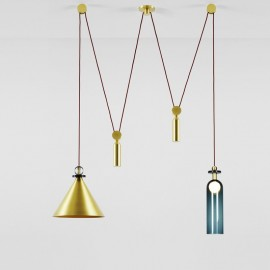 Shape Up Pendant lamp Double Roll & Hill brass color front view