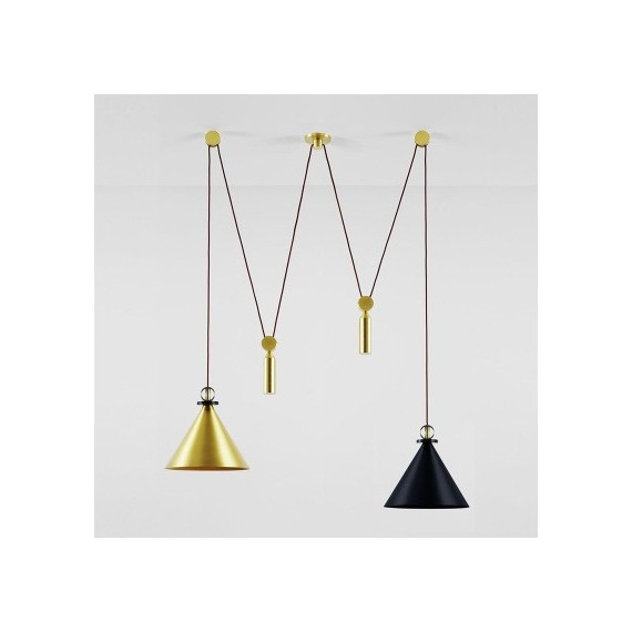Shape Up Pendant lamp Double cone+cylinder Roll & Hill black & brass color front view