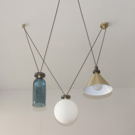 Shape Up Pendant lamp 3 pieces Roll & Hill blue/brass/white color side view