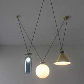 Shape Up Pendant lamp 3 pieces Roll & Hill blue/brass/white color back view