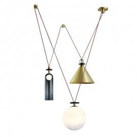 Shape Up Pendant lamp 3 pieces Roll & Hill blue/brass/white color front view