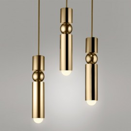 Fulcrum LED Chandelier Lee Broom gold color 3 lights front view