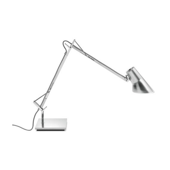 Kelvin Adjustable Base table lamp Flos silver color front view
