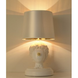 Clown table lamp Lladro white color shade in gold in dining room