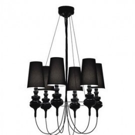 Josephine Queen Chandelier Metalarte black color 6 lights front view