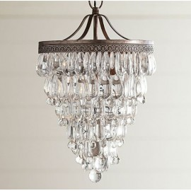 Clarissa Crystal Drop small Round Chandelier Pottery Barn brass color back view