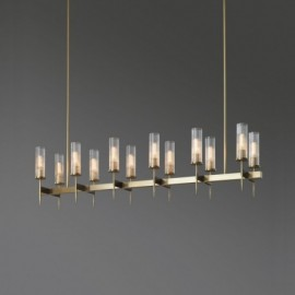 RH ALOUETTE LINEAR CHANDELIER Jonathan Browning brass color side view