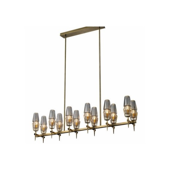 CHAILLOT LINEAR CHANDELIER Jonathan Browning brass color front view