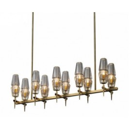 CHAILLOT LINEAR CHANDELIER Jonathan Browning brass color in dining room