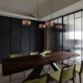 Lalu plus  PENDANT LAMP Seed Design black+copper color in dining room