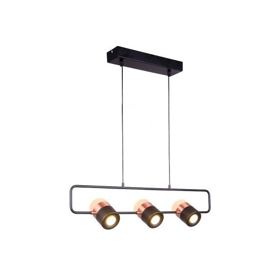 LING LED PENDANT LAMP 3 lights Seed Design black + copper color front view