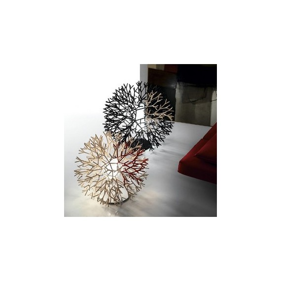 Coral table lamp Pallucco red and white color / black and white color side view