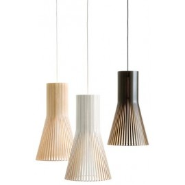 Secto 4201 pendant lamp Secto Design black color / white color / natural wood color front view