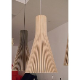 Secto 4200 pendant lamp Secto Design black color / natural wood color side view